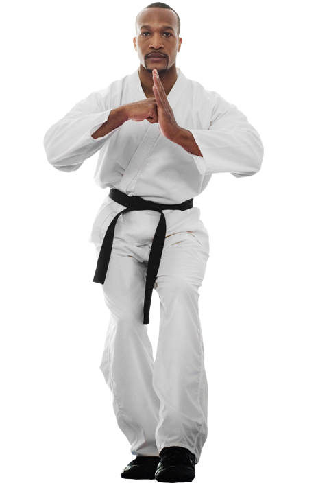 Adult Man in karate uniform bowing