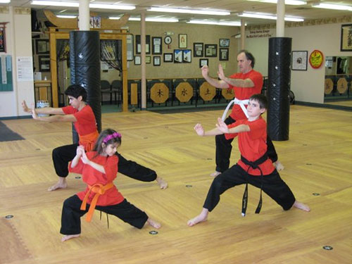 family practicing martial arts